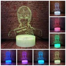 Death note figura piscando juguetes 3d led nightlight colorido mudando luz yagami luz kira anime ação & brinquedo figuras