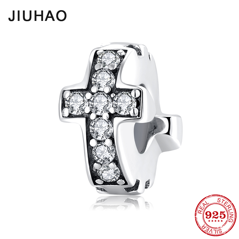 New 925 Sterling Silver Cross Clear CZ Fine Spacer Stopper Beads Fit Original Pandora Charm Bracelet Jewelry Making