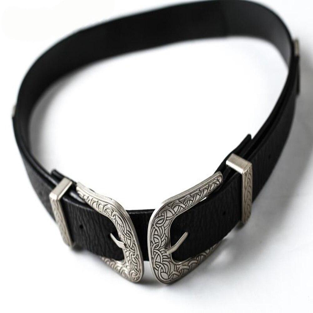 Fashion Women Belt Lady Vintage Boho Metal Leather Double Buckle Waist Belt Waistband Elegant Waist Belts For Women Punk Luxury