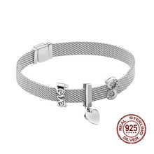 Mesh Charm Bangle 925 Sterling Silver Women Bracelets for Women Valentines Day Birthday Xmas New Year DIY Jewelry Gifts