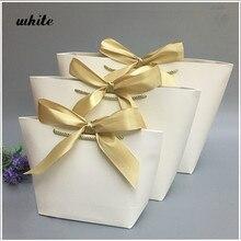 5/10 pces favor arco fita presente saco reciclável diy sacos de papel para roupas festa de aniversário de casamento com alça s celebração decoração