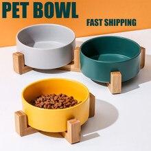 Animal de estimação tigela de cerâmica com suporte de bambu tigela de gato tigela de cão pet beber tigela recipiente de alimentos gato e cachorro suprimentos de alimentação