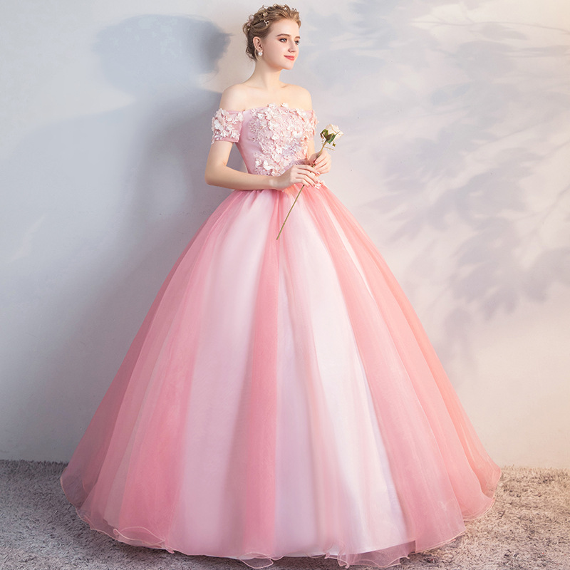 Off The Shoulder Quinceanera Dresses Pink Robe De Bal Puffy Dresses For Prom Vestidos De 15 Anos Quinceanera Sweet 16 Dresses