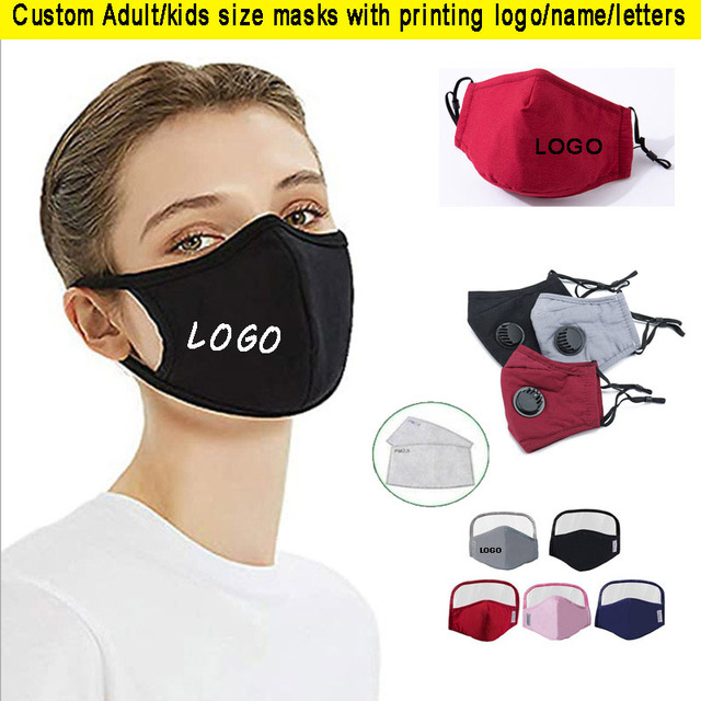 2pcs a lot Cotton Adult mouth Mask Big Face Custom Printing LOGO mask Windproof Mouth-muffle bacteria proof Flu Face masks Care