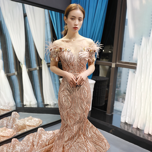 Image 5 - J66749 Jancember Mermaid Evening Dresses 2020 Off The Shoulder Short Sleeve Lace Wedding Guests Gowns