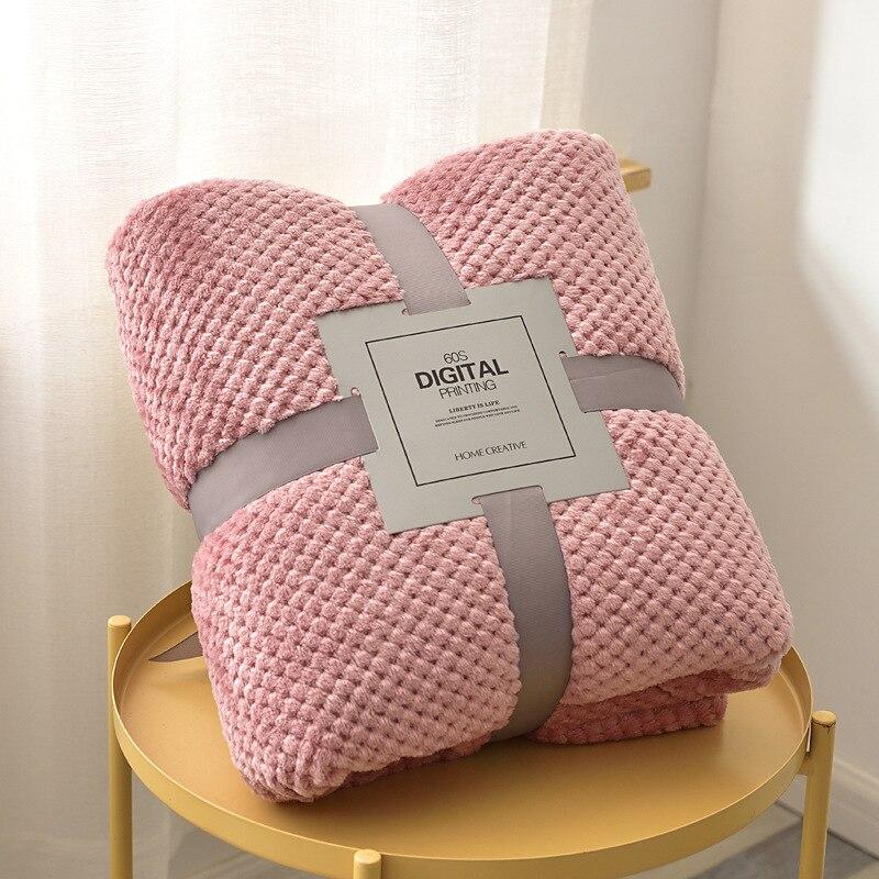 Super Soft Solid Blanket Coral Fleece Blanket Cover for Sofa Bed Thicken Blanket Siesta Office Bedspread Yoga Coverlet for Home-3