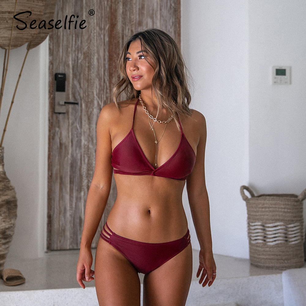 SEASELFIE Sexy Maroon Strappy Triangle Halter Bikini Sets Women Low-waist Swimsuit Two Pieces 2020 Beach Bathing Suits Swimwear