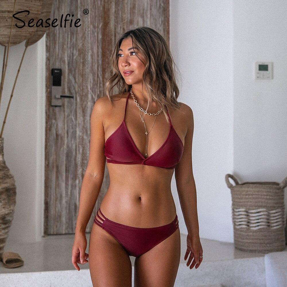 SEASELFIE Sexy Maroon Strappy Triangle Halter Bikini Sets Women Low-waist Swimsuit Two Pieces 2020 Beach Bathing Suits Swimwear