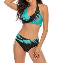 Conjunto de Bikini de dos piezas de cintura alta, bañador Sexy para mujer, traje de baño con estampado sólido de encaje, conjunto de Bikini de dos piezas