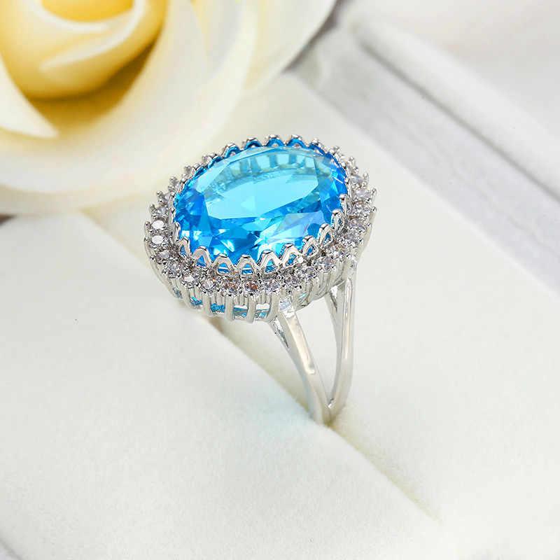 Luxe Vrouwelijke Rode Zwarte Blauwe Steen Ring 925 Sterling Zilver Ovaal Trouwring Belofte Liefde Engagement Ringen Voor Vrouwen