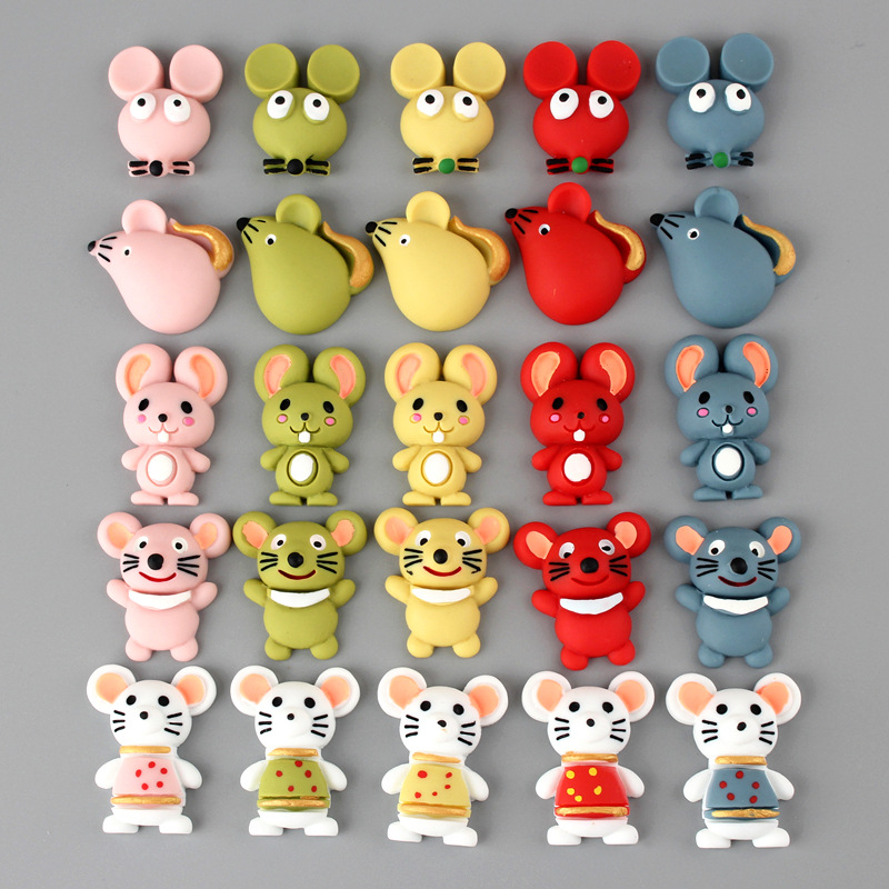 10Pcs Cartoon Animal Mouse Flatback Resin Cabochon Craft DIY Kid Hair Bows Accessories Embellishments For Scrapbooking Deco Part