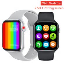 2020 IWO 12 W26 połączenie Bluetooth Smart Watch Series 6 1 75 Cal w pełni dotykowy ekran ekg Monitor tętna PPG inteligentny zegarek IWO 13 tanie tanio Slimy Brak Na nadgarstku Wszystko kompatybilny 128 MB Passometer Wiadomość przypomnienie Przypomnienie połączeń