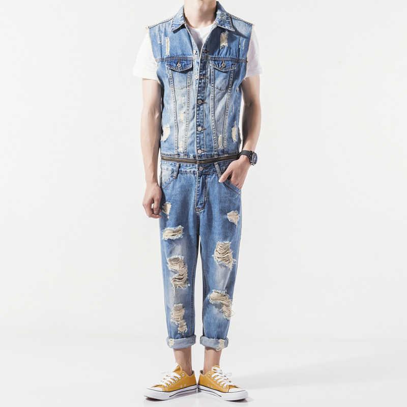 Męskie lato nowy kombinezon dresowy bez rękawów swobodny kowboj Slim Fit z dziurami spodnie jeansowe Romper męski zamek jednoczęściowy kombinezon na szelkach