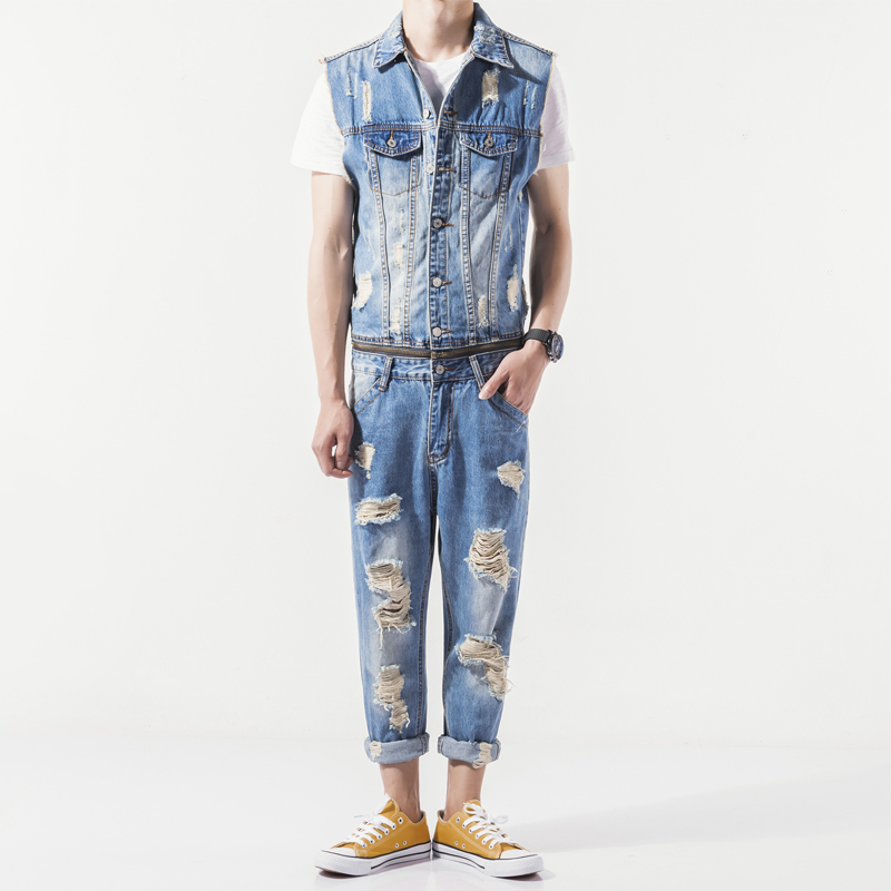 Mens Summer New Sleeveless Denim Jumpsuit Casual Cowboy Slim Fit Hole Ripped Romper Jeans Pants Male Zip One Piece Bib Overalls