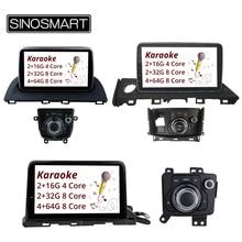 SINOSMART 4 코어/8 코어 CPU 2G 안드로이드 8.1 차량용 GPS 네비게이션 for Mazda 3 Axela 2014 2019/Mazda 6 Atenza 2016 2019 Karaoke