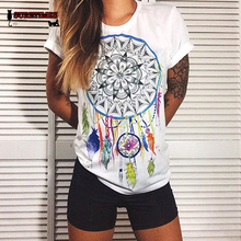 New Fashion Women T Shirts Short Sleeve women Printed Letters T-Shirts Female Retro Graffiti Flower Tops Tee Lady T Shirts S-4XL cheap SURETIMES Polyester COTTON NONE Tees Full REGULAR Knitted O-Neck Casual
