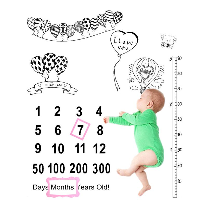2 Pcs/set Newborn Baby Growth Milestone Celebration Blanket Props Photography Background Cloth Accessories Photo Frame Girls Boy