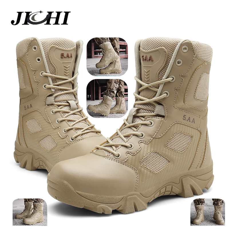 JICHI Mens Boots Desert Combat Tactical Outdoor Fashion 39-47 Ankle Wear-Resisting Hiking