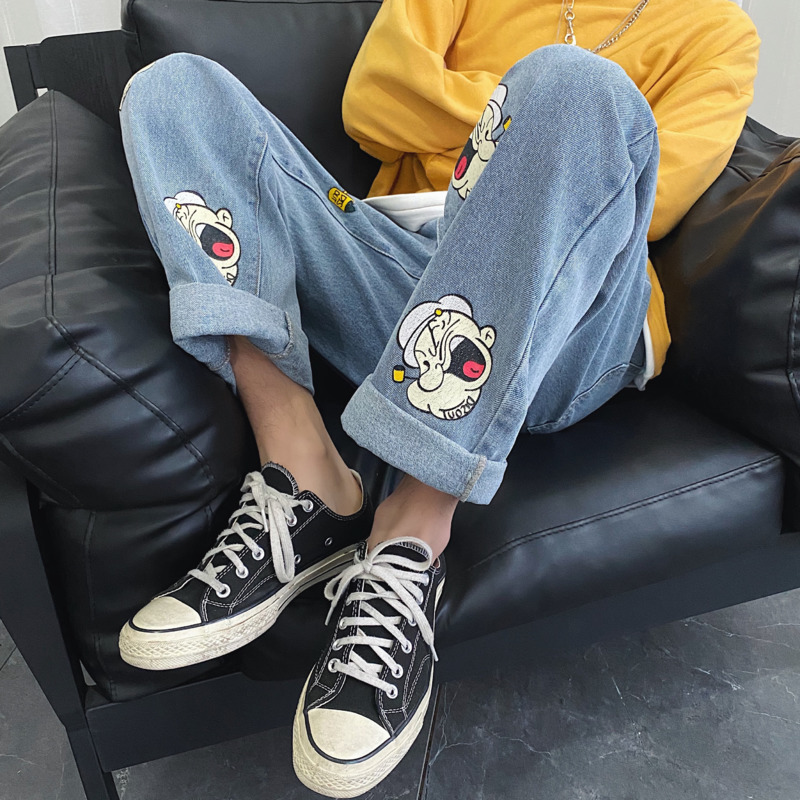 2020 Spring And Summer New Harajuku Korean Version Of The Ins Trend Popeye Print Hole Casual Jeans Loose And Comfortable M-2Xl