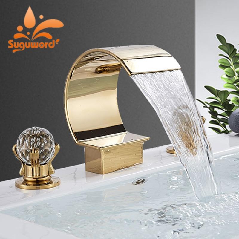 Suguword Robinet de salle de bain mural /à 2 poign/ées haute pression avec joints en c/éramique Noir