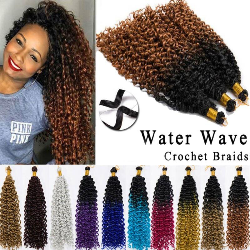 14inch Long Brazilian Synthetic Ombre Braiding Hair Extensions Water Wave Crochet Braids Hair Bundles Afro Kinky Twist Crochet