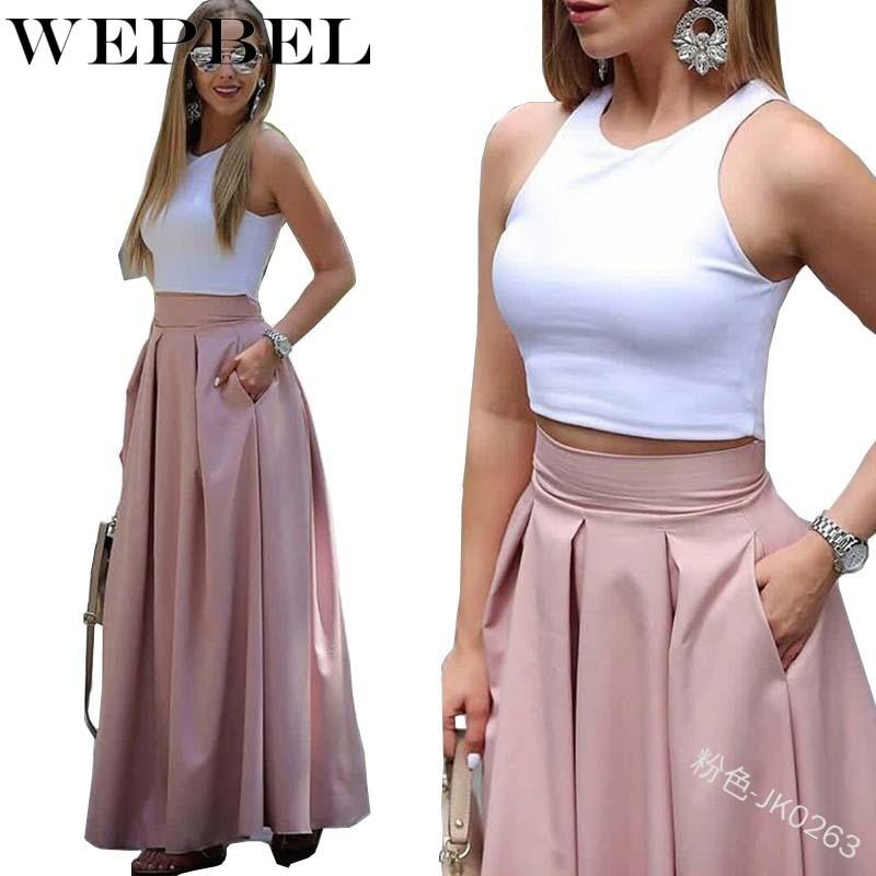 WEPBEL Women Solid High Waist Skirt Ruffles Casual Fashion A Line Ladies Long Skirt
