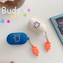 Simpatica custodia per cartoni animati orso coreano per Samsung Galaxy Buds Plus / Galaxy Buds / Buds + Case Lovely Cover per auricolari in Silicone fundas
