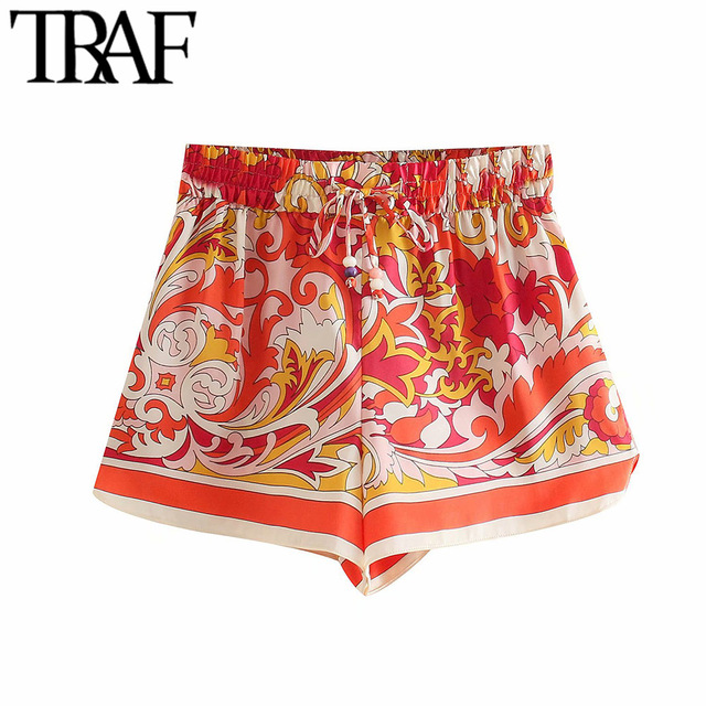 TRAF Women Chic Fashion Totem Print Side Vents Shorts Vintage High Elastic Waist Drawstring Female Short Pants Mujer 1
