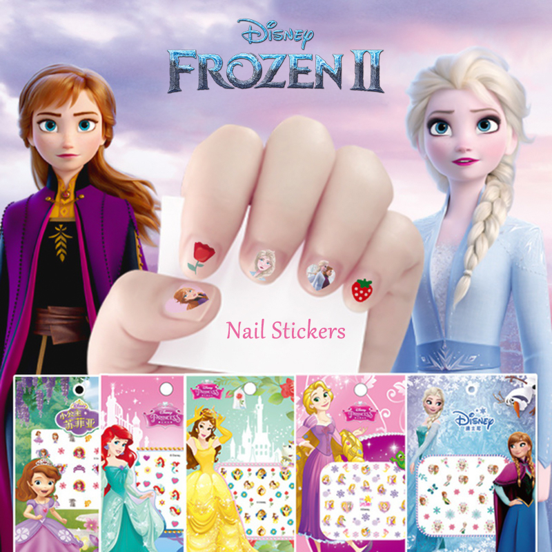 Frozen 2 Elsa Anna Nail Stickers Toy New Disney Sofia White Snow Princess Mickey Minnie Lovely Girls Toy For Girlfriend Kid Gift