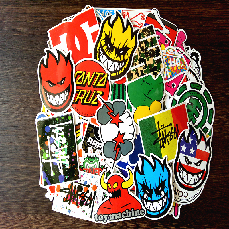 100 PCS Skateboard Fashion brand Logo Waterproof Sticker For Luggage Car Guaitar Skateboard Phone Laptop Stickers-in Stickers from Toys & Hobbies