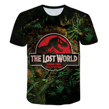 2021 Summer Short Sleeve Round Neck Print Boy T-shirt American Blockbuster Jurassic Park Period Dinosaur HD Print Teen Top
