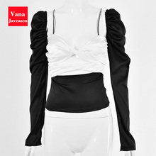 Sexy Women blouse Slim Satin Tops Women Street Wear Blouses Black White Patchwork Backless Short Top Femme Blusas Mujer De Moda