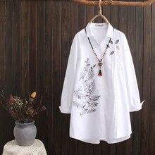 Shirts Blouses Tops Oversized Women Fashion Spring Cotton Long Blusas Loose S79-8039