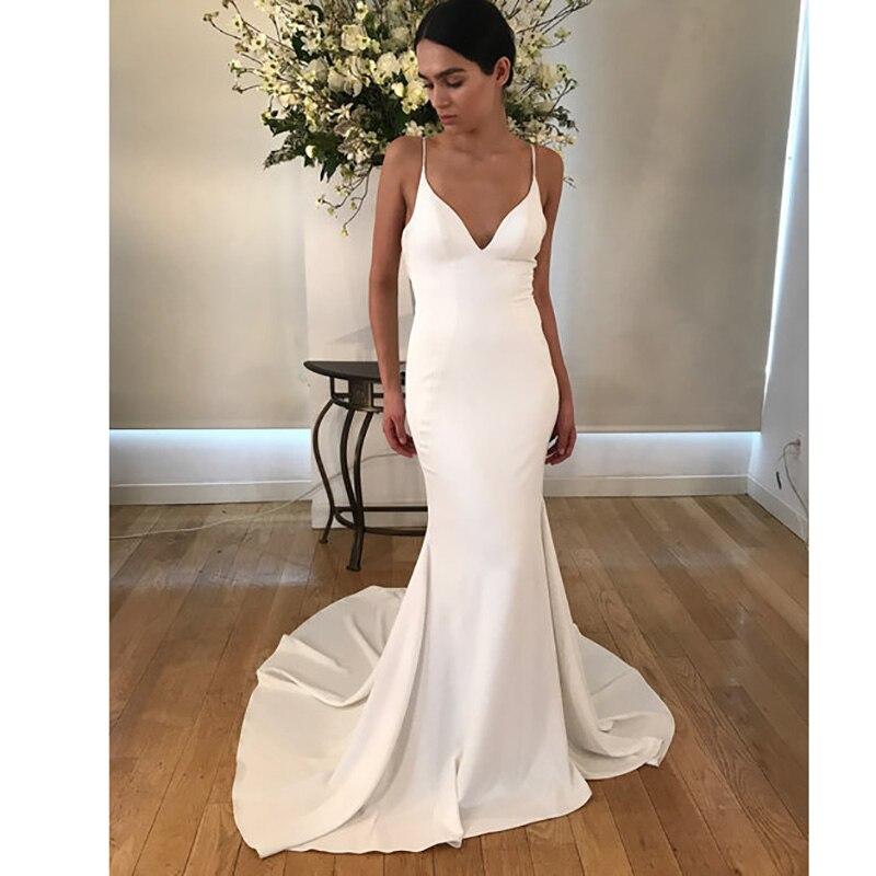 Mermaid Wedding Dresses 2020 Soft Satin Appliques Lace Beach Bride Dress Sexy Backless Deep V-Neck Wedding Gown Hot Sale