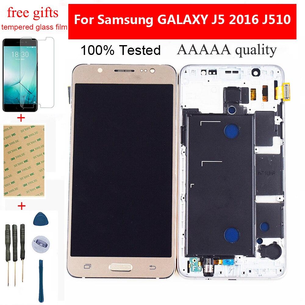 Para Samsung Galaxy J5 2016 Tela LCD SM-J510F J510FN J510G J510 Sensor de Toque Digitador Da Tela + Conjunto da tela Lcd Com quadro