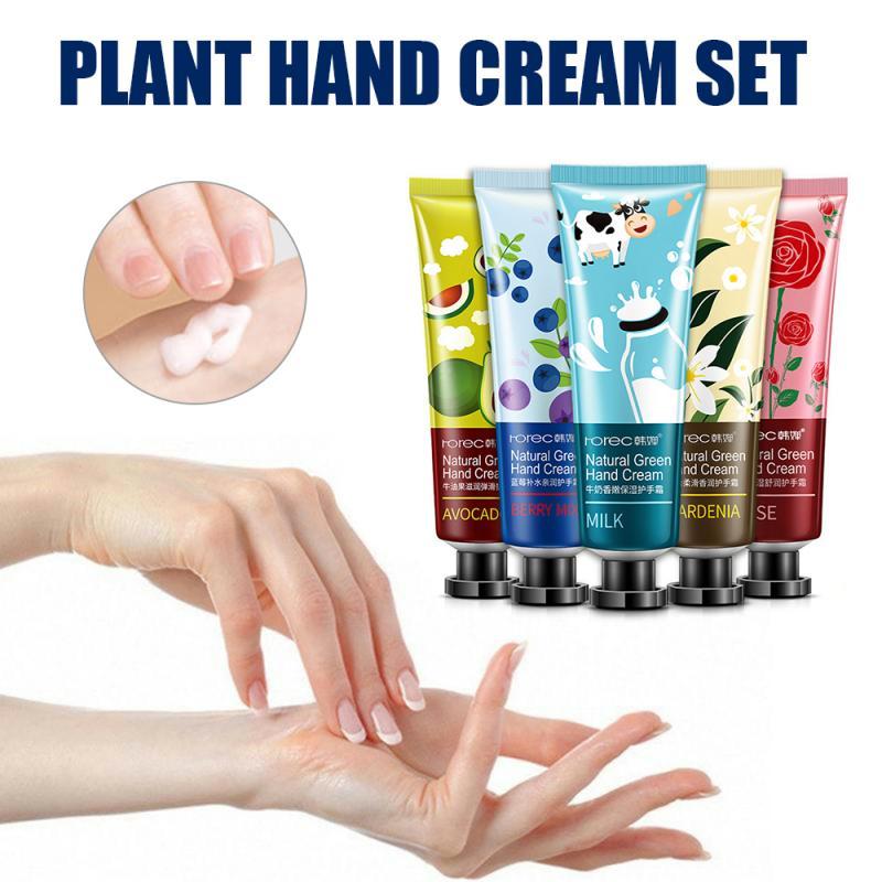 Green Plant Moisturizing Hydrating Hand Cream Avocado Blueberry Milk Rose Lily For Winter Hand Care Nourishing Skin Care TSLM1