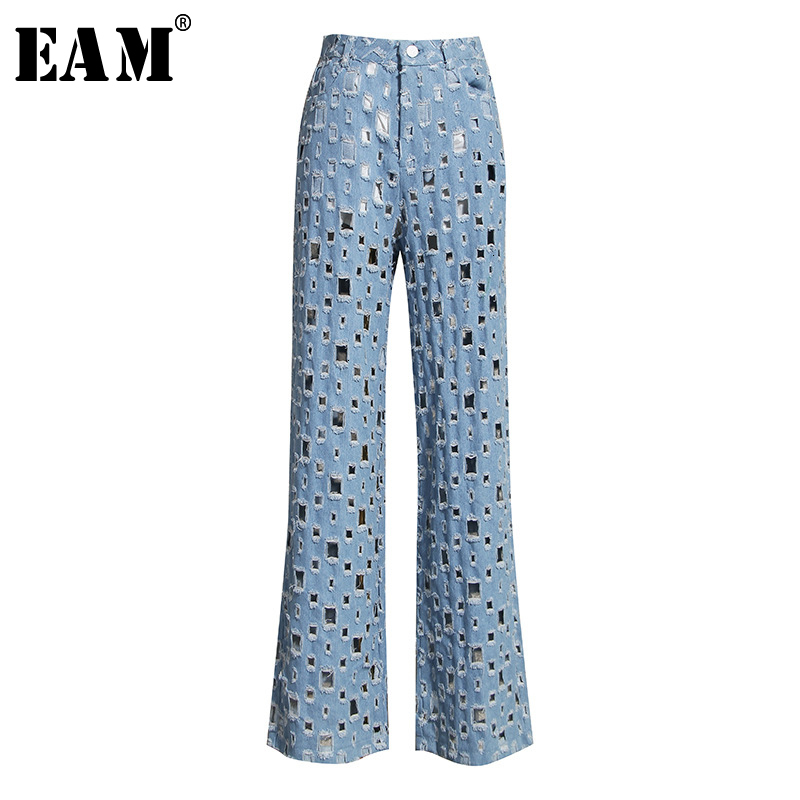 [EAM] Wide Leg Blue Denim Hollow Out Long Wide Leg Jeans New High Waist Loose Women Trousers Fashion Spring Autumn 2020 1K434