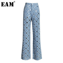 [EAM] Wide Leg Blue Denim Hollow Out Long Wide Leg Jeans New High Waist Loose Women Trousers Fashion Spring Autumn 2020 1K434(China)