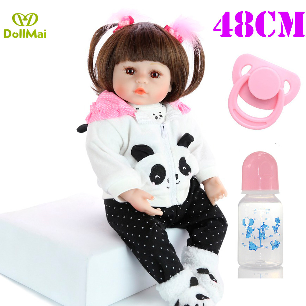 19 48CM bebes Reborn dolls cotton body silicone vinyl reborn baby dolls with panda clothing magnetic
