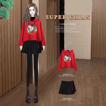 Traditional Chinese Cosplay Style Pleated Skirt Suit Womens Autumn Hanfu Long Sleeve Sweatshirt Short Two-piece Kimono