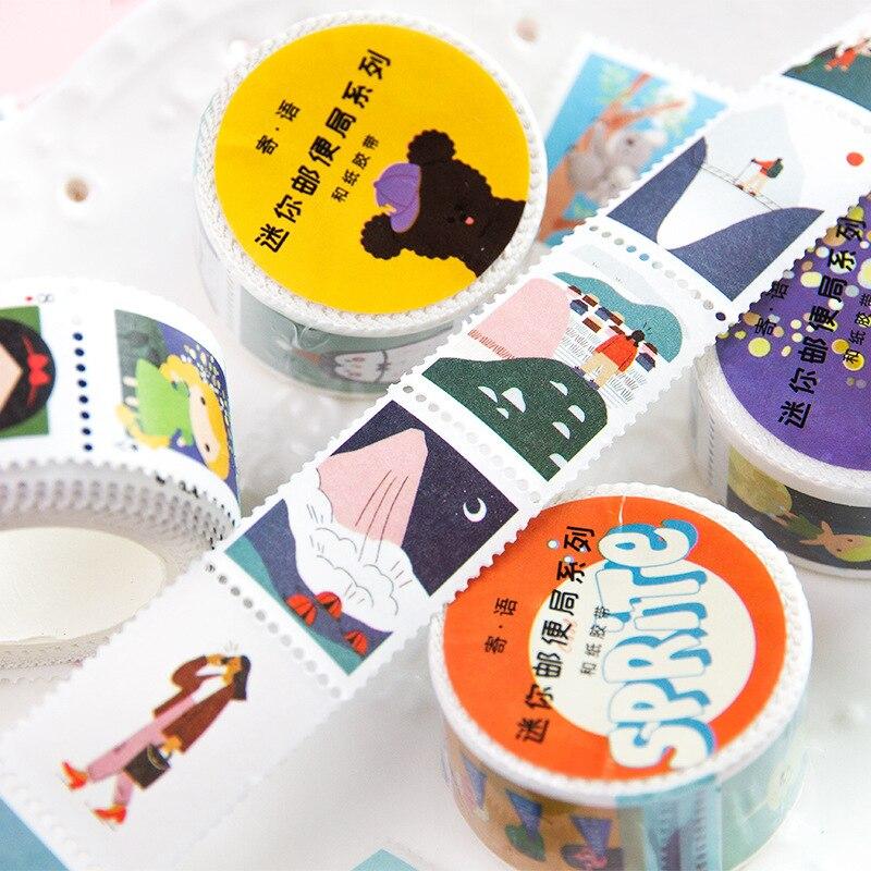 Vintage Stamp Series Cartoon Animal Plant Decorative Adhesive Tape Masking Washi Tape DIY Scrapbooking Sticker Label Stationery