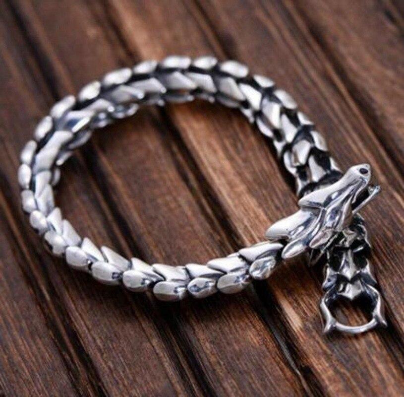 Мода Рок Высокое качество Металл тяжелый Дракон весы байкер браслет для мужчин властный Панк ювелирные изделия Цепочки и браслеты      АлиЭкспресс