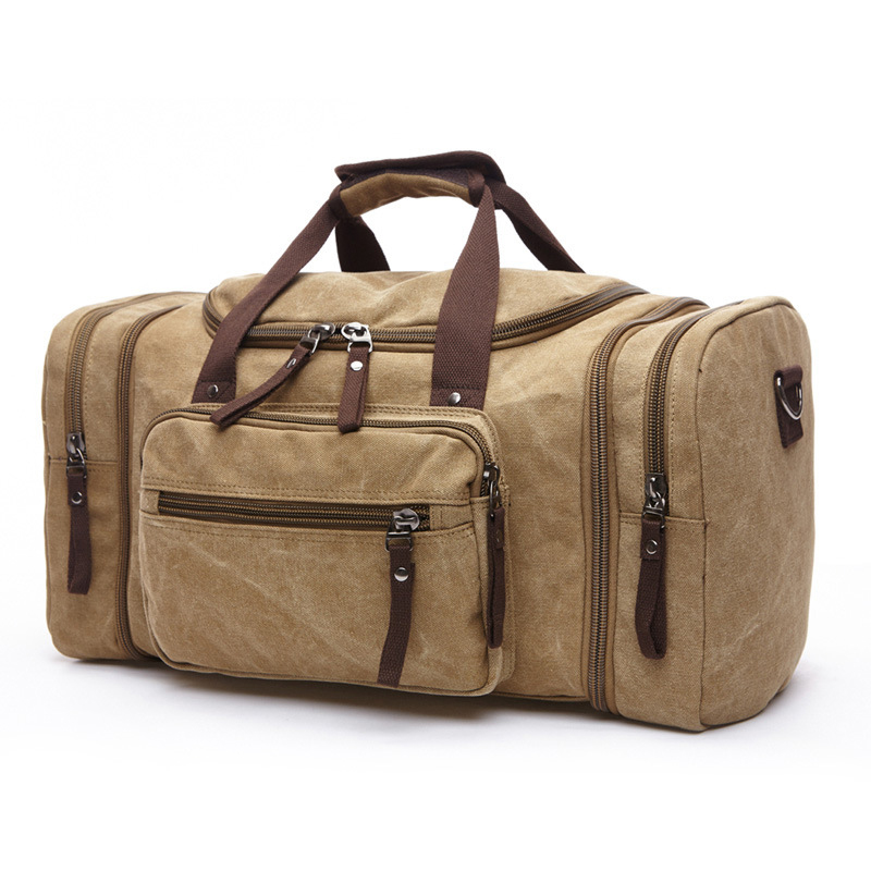 Men Travel Bag Tote High Quality Canvas Duffel Men One-Shoulder Fashion Large Capacity Overnight Tote image