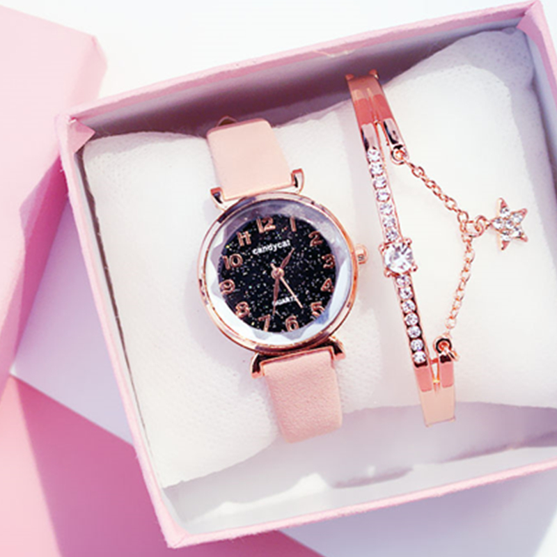 Women Bracelet Watch Casual Ladies Romantic Starry Sky Wrist Watch Leather Simple Dress Clock Quartz Wristwatch Relogio Feminino