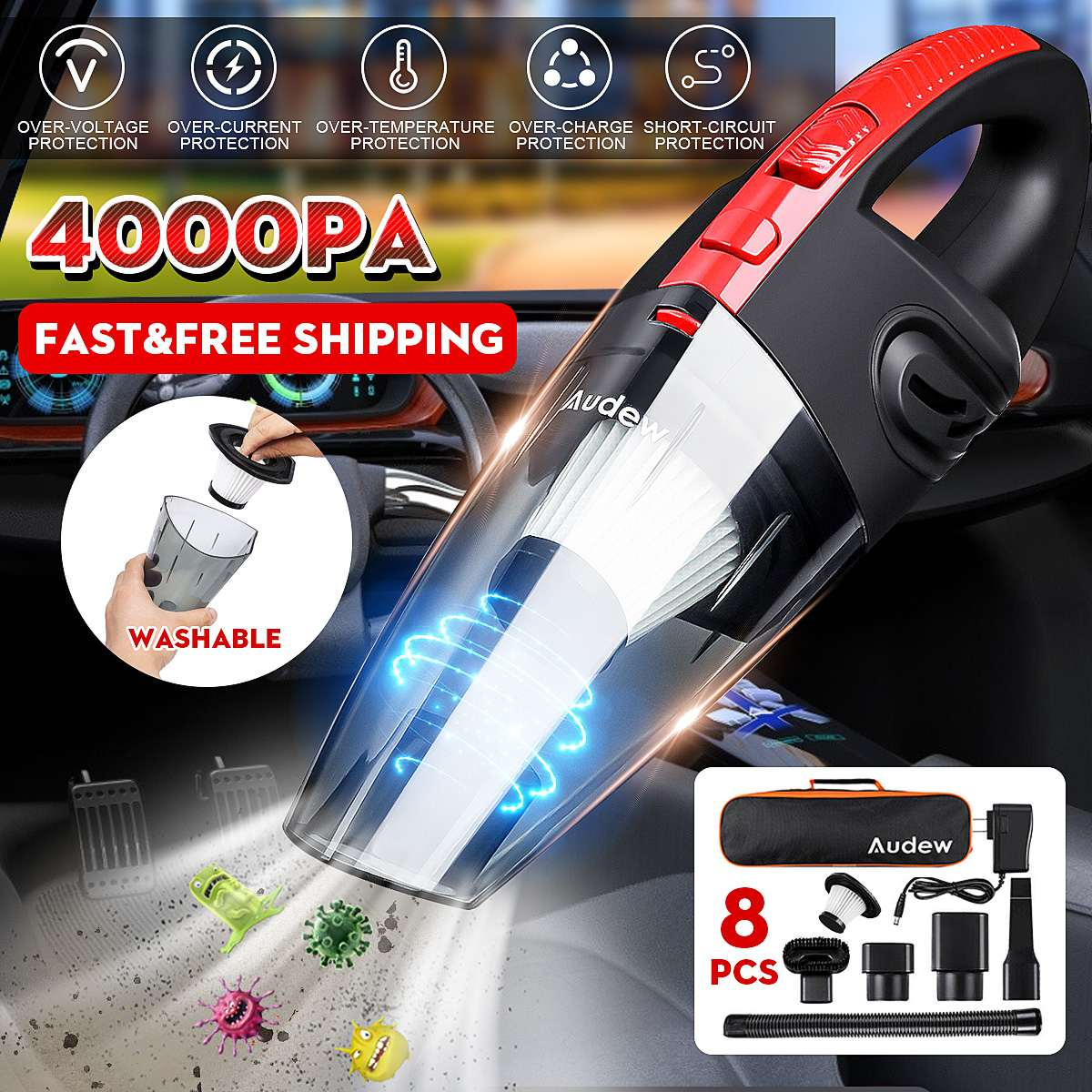 Handheld Home Vacuum Cleaner HEPA Filter Mini Portable Rechargeable Cordless Wet Dry Use 2200mAh AUDEW 120W 4000pa