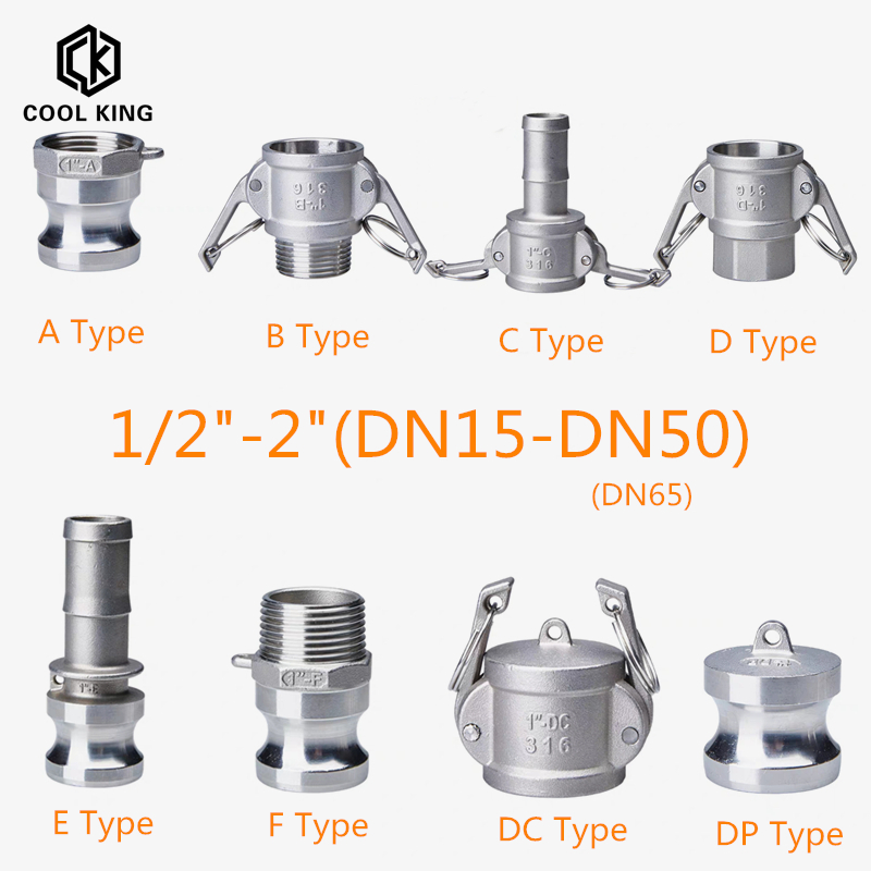 DN15-DN50 Fitting-Adapter Homebrew Camlock Quick-Disconnect Stainless-Steel Barb MPT