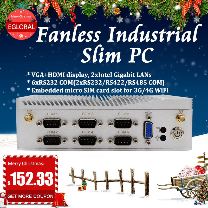EGLOBAL G3 Intel Celeron J1900 Embedded Industrial Pc Rs485 / Rs232 Embedded Nuc With Dual LAN Industrial Com Port