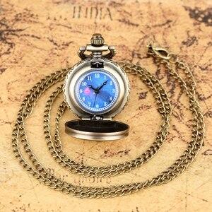 Little Cute Small Dial Bronze Blue The Little Prince Movie Planet Quartz Pocket Necklace Pendant Souvenir Gifts for Boys Kids