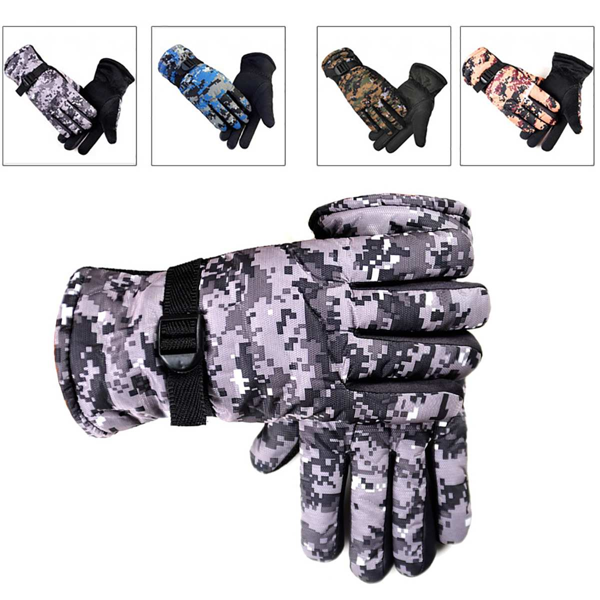 Motorcycle Gloves Cycling Winter Unisex Couple Models Windstopers Ski Gloves Camouflage Waterproof Camouflage Thicken For Hiking