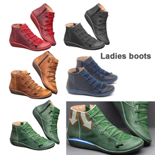 Get more info on the 2019 New Arch Support Boots Women Braided Strap Boots Damping Soft Martin Boots Leather Platform Shoes for Travel Boots